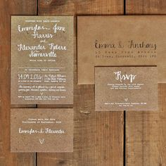 White Calligraphy Kraft Effect Wedding Invitation Suite & Save the Date on luxury textured card (printable option also available)