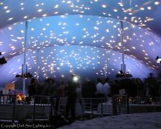 Dance under the stars at your wedding reception. Ask about adding more star fields and a realistic moon projection as well! By Dark Star Lighting, Inc.