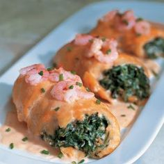 Baked Stuffed Sole with Shrimp Sauce... I love all kinds of seafood even if I don't know what it is