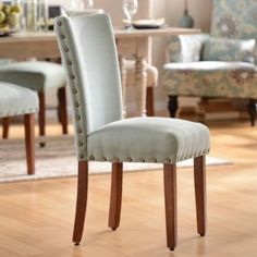 Casual dining chairs for informal breakfast area - Seafoam Parsons Chair | Kirklands