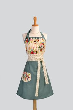 Cute Kitsch Apron / Houndstooth in Turquoise and Espresso Brown are Topped with Ivory and Multi Colored Paint Brush Flowers