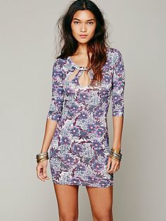 Free People Cut Out Feathered Bodycon