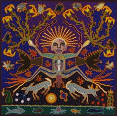 Folk art Mexico. Huichol Yarn paintings by the Huichole or Wixáritari people; indigenous to the Jalisco, Zacatecas, Durango and Nayarit regions of North Western Mexico.