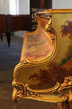 """1903 Pleyel Grand Pian: Louis XV Gold Case ~ Besbrode Pianos ~ Cabinet is Covered with Vernis Martin & Oil Paintings of """"Fete Galante"""" Scenes by Merlin of Courting Couples & Music-Making Figures in a Pastoral Background. Ornately Carved Giltwood Scroll Foot Legs & Lyre. Rococo Style"""