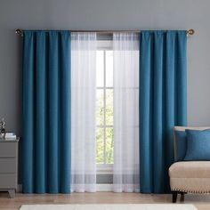 Vcny Diana Window Curtain & Throw Pillow Set, Blue Source by heleneneufeld Curtains Living Room Decor Curtains, Home Curtains, Modern Curtains, Bedroom Window Curtains, Curtains Dunelm, Curtains With Sheers, Curtain Ideas For Living Room, Ikat Curtains, Neutral Curtains