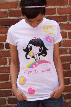 """Lolligag """"Life is Sweet/Suck It"""" Tee (front)"""