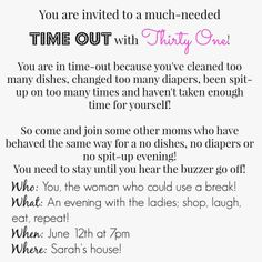 Thirty One party ideas. Baby Got Bags: Mom's night out!!