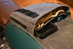 Waxed Canvas Motorcycle Gas Tank Bag by ElmwoodCustomVintage