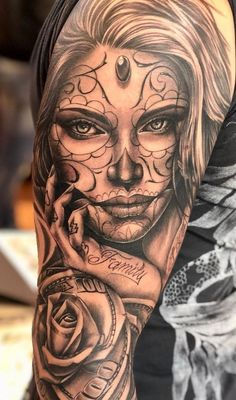 cool Day of the Dead tattoo © tattoo artist Emink Tattoo Vicenza 💓💓💓. - cool Day of the Dead tattoo © tattoo artist Emink Tattoo Vicenza 💓💓💓💓💓 - Girl Face Tattoo, Face Tattoos, Body Art Tattoos, Girl Tattoos, Tattoos For Guys, Girls With Sleeve Tattoos, Family Tattoos, Wolf Tattoos, Tattoo Girls