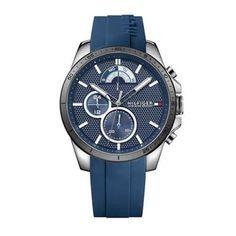 Tommy Hilfiger Navy Sport Watch With Silicone Strap Sport Watches, Watches For Men, Tommy Hilfiger Online Shop, Watch Cufflinks, Breitling, Chronograph, Omega Watch, Man Shop, Ebay
