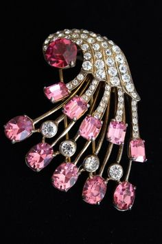 pink fur clips | ... ORIGINAL EISENBERG STERLING SILVER PINK RHINESTONE FUR CLIP IN BOX