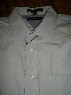 Tommy Hilfiger~Size 17 1/2 34-35 XL Men's Dress Shirt Blue with Pocket