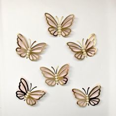 6 Wall Butterflies gold and pink butterfly cutouts paper image 0