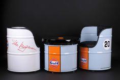 Vintage Harley Davidson,Porsche,GULF or other design retro oil drum seat/chair in Home, Furniture Drum Seat, Drum Chair, Drum Table, Barrel Furniture, Furniture Chairs, Diy Furniture, Barris, Oil Barrel, Barrel Projects