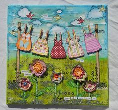 Gorgeous, whimsical, and colorful mixed media canvas by Shrimpy Sue Designs. I love this!!