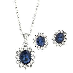 JSDY Womens Girls Rhinestone Blue Ear Stud Earring Necklace Fashion Jewelry Set *** Details can be found by clicking on the image.(This is an Amazon affiliate link and I receive a commission for the sales)