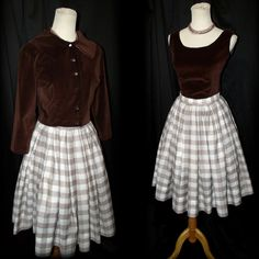 Vtg 50s Box Pleated Gingham Skirt Set XS/S Brown Velvet Top & Jacket Miss Pat #vtg #50s #1950s #Pinup #MissPat #GinghamSkirtSet #BrownVelvetTop #CroppedJacket #BackButtonUpShirt #GlassButtons #xs/s #BoxPleatedFullCircle #outfit #Mid-Century #PartySpecialOccasion #MothballHavenVintageThreads