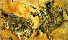 <3<3 Game of Polo (Chogan) <3<3  Iran Politics Club: Mahmoud Farshchian Online Gallery 1, Persian Miniature Paintings - Ahreeman X