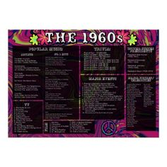 The 1960s:  Events and Pop Culture Poster #Zazzle #Education #SocialStudies #1960s #Sixties #PopCulture