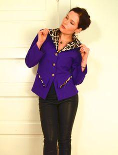 Vintage Dress Jacket Leopard Print Collar Jacket in by kaytaInga