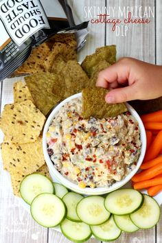 Cottage cheese, avocado, beans, corn, tomatoes, jalapeño, onions and Sriracha sauce are layered to create this flavorful, but figure-friendly, Skinny Mexican Cottage Cheese Dip.