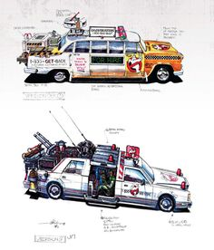 Pin for Later: You'll Never Watch Ghostbusters the Same Way After Seeing These Rare Pictures Concept illustrations for the revised Ectomobile by Benton Jew (top) and John Bell (bottom). The Real Ghostbusters, Ghostbusters Characters, John Bell, Rare Pictures, Ghost Busters, Futuristic Cars, Car Drawings, Book Cover Art, Geek Art