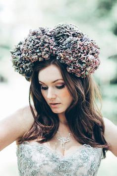 Hydrangea flower crown - Image by Miss Gen - Alice In Wonderland Mad Hatters Tea Party Inspired Wedding Inspiration Shoot Using Top Australian Wedding Suppliers Rockstars And Royalty Swish Vintage And Peony N' Pearl With Images By Miss Gen Photography