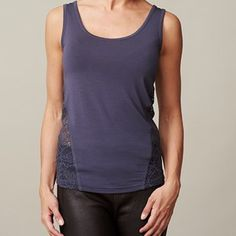 ANASTASIA tank top with lace on back, dark blue. Sleeveless top made from the softest modal, with lace on the sides and on the back.