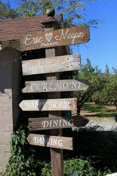 """DIRECTIONAL SIGN Post $50 - includes personalized names & """"Happily Ever After"""" plus choice of up to 4 pre-made directional arrows"""