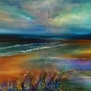 Jaanika Talts - Estonian art - Estonia and Dublin, Ireland Abstract Landscape, Abstract Art, Watercolor Sky, Abstract Pictures, Irish Art, Modern Art Paintings, Art Background, Beach Art, Pretty Art