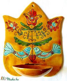 Tulipános, életfás, lélekmadaras fali gyertyatartó, Dekoráció, Magyar motívumokkal, Képzőművészet, Ünnepi dekoráció, Kerámia, Meska