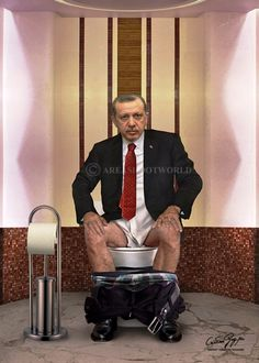 Toilet Art, Head Of State, Tattoo Sleeve Designs, Mature Men, People Sitting, World Leaders, Photomontage, Satire, Funny Pictures