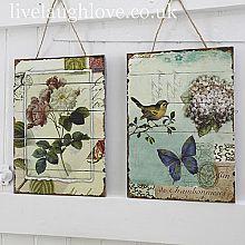 Bird & Flower Vintage Wooden Pictures - Pair