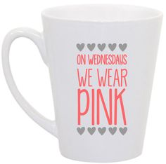 Mean Girls On Wednesdays we wear pink coffee mug by perksofaurora, $16.00