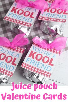 """Valentines cards for kids don't have to be traditional. Try these printable Valentine cards for kids that attach to a juice pouch. We call them """"Kool Friend"""" Valentine's Day cards and they're great for school at Valentine's Day parties. Valentines Day Food, Funny Valentines Cards, Valentines Day Activities, Printable Valentine, Valentines For Kids, Valentine Day Crafts, Valentine Box, Valentine Ideas, Valentine's Day Crafts For Kids"""