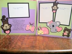 Baby Poem with Animal Friends Pre Made 12 x by aSavvyScrapbooker, $12.00