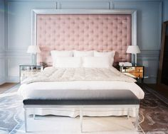 blush pink headboard mirrored side tables lonny march 2011