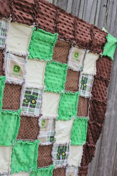 JOHN DEERE Rag Quilt/Blanket!! How adorable!?! Would be the cutest crib bedding for a baby boy nursery (John Deere nursery, John Deere crib bedding) Green Brown Yellow by BabyBazerk, $80.00