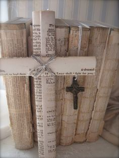 Cross made from pages of the bible //  This is unique and moving.  A treasure. But I'd have a hard time pulling apart a bible :-(