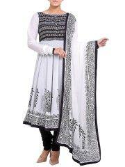 Black & White Cotton Anarkali Salwar Set