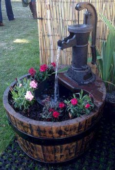 45 Gorgeous Pretty Front Yard and Backyard Garden Landscaping Ideas - For the Home - gardening Mini Pond, Diy Water Feature, Wine Barrel Water Feature, Whiskey Barrel Fountain, Whiskey Barrel Planter, Half Wine Barrel Ideas, Half Barrel Planter Ideas, Wine Barrel Garden, Water Barrel