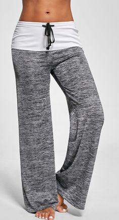 Heather Foldover Wide Leg Pants