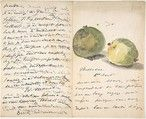Imagine getting something this lovely in the  mail - a letter from Manet, decorated with two apples, 1880.