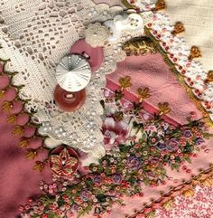 I ❤ crazy quilting, beading & embroidery . . . Block 57,  I dropped the Button Box crazy quilt. ~By Sharon B