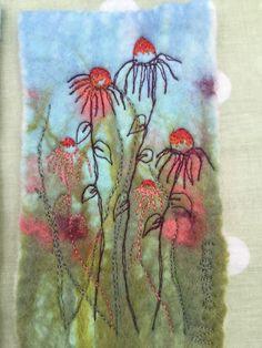 Wet felt - free machine embroidery. Nicola Overton