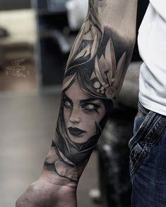 Blackandgrey piece by Alex Sorsa Hd Tattoos, Forarm Tattoos, Face Tattoos, Girl Tattoos, Tattoo Drawings, Black Line Tattoo, Dark Tattoo, Black And Grey Tattoos, Sketch Tattoo Design
