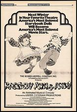 RAGGEDY ANN & ANDY: A Musical Adventure__Orig. 1976 Trade AD promo/ poster__1977