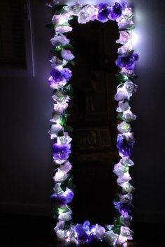 Available in different colours, sizes and… Night view. Available in different colours, sizes and shapes. Postage not available on this item. Diy Floral Mirror, Diy Mirror Decor, Flower Mirror, Flower Frame, Mirror Ideas, Flower Wall, Cute Room Ideas, Cute Room Decor, Teen Room Decor