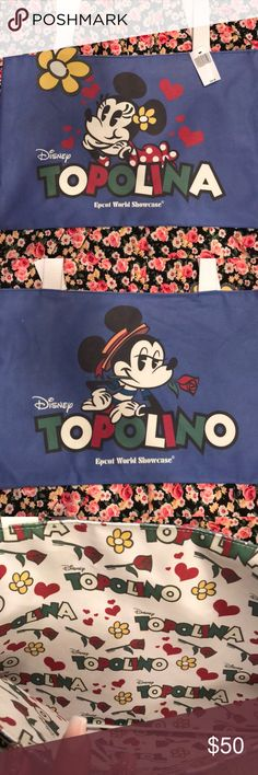 Italian Minnie and Mickey Tote from Epcot WDW Topolina/Topolono (Minnie and Mickey in Italian) Tote from the Walt Disney World Epcot Theme Park, Brand new never used. Cute little Tote! Disney Bags Totes