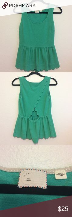 Anthropologie post mark green peplum sz small This tank is in excellent used condition. Scalloped edge details. Very clean! Anthropologie Tops Blouses